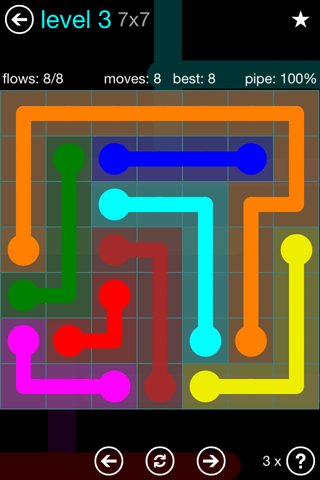 Solution and Answer to the Puzzle for Flow Blue Pack Set 7x7 Level 3