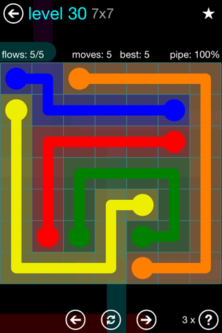 Solution and Answer to the Puzzle for Flow Blue Pack Set 7x7 Level 30