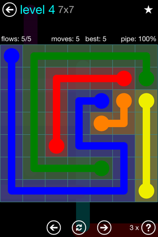Solution and Answer to the Puzzle for Flow Blue Pack Set 7x7 Level 4
