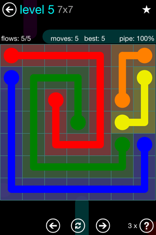 Solution and Answer to the Puzzle for Flow Blue Pack Set 7x7 Level 5