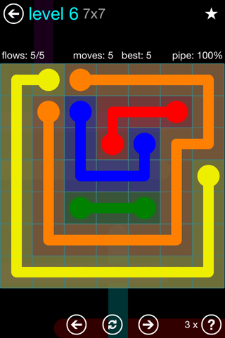 Solution and Answer to the Puzzle for Flow Blue Pack Set 7x7 Level 6