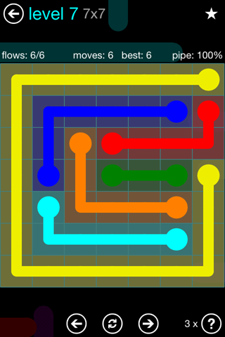 Solution and Answer to the Puzzle for Flow Blue Pack Set 7x7 Level 7