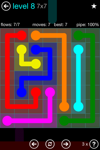 Solution and Answer to the Puzzle for Flow Blue Pack Set 7x7 Level 8