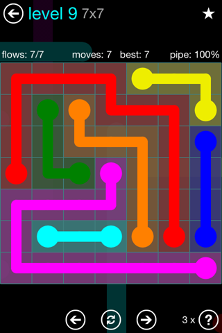 Solution and Answer to the Puzzle for Flow Blue Pack Set 7x7 Level 9