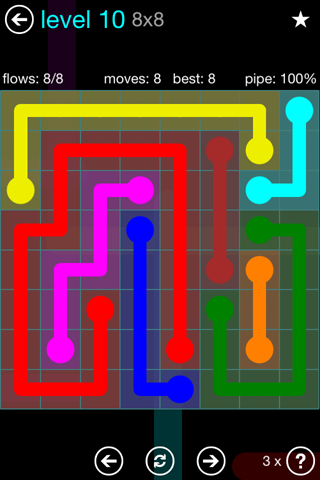Solution and Answer to the Puzzle for Flow Blue Pack Set 8x8 Level 10
