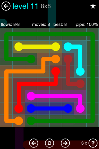Solution and Answer to the Puzzle for Flow Blue Pack Set 8x8 Level 11
