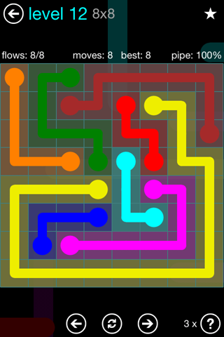 Solution and Answer to the Puzzle for Flow Blue Pack Set 8x8 Level 12