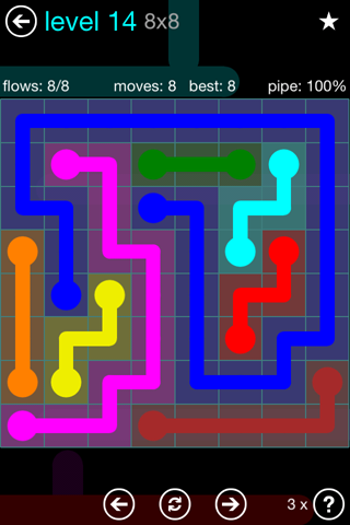 Solution and Answer to the Puzzle for Flow Blue Pack Set 8x8 Level 14