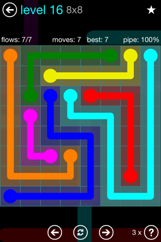 Solution and Answer to the Puzzle for Flow Blue Pack Set 8x8 Level 16