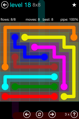Solution and Answer to the Puzzle for Flow Blue Pack Set 8x8 Level 18