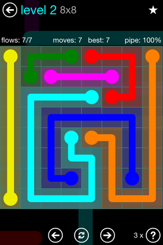 Solution and Answer to the Puzzle for Flow Blue Pack Set 8x8 Level 2