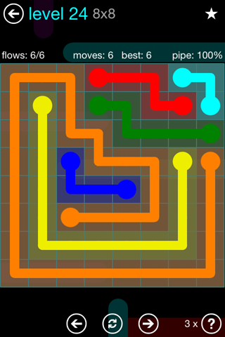 Solution and Answer to the Puzzle for Flow Blue Pack Set 8x8 Level 24