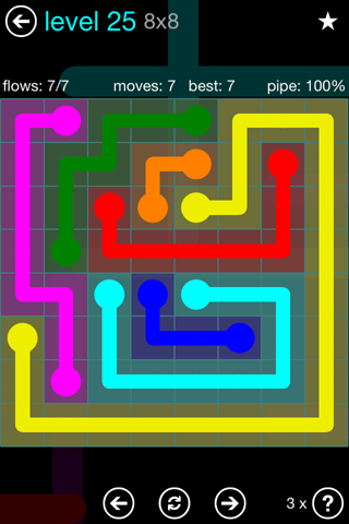 Solution and Answer to the Puzzle for Flow Blue Pack Set 8x8 Level 25