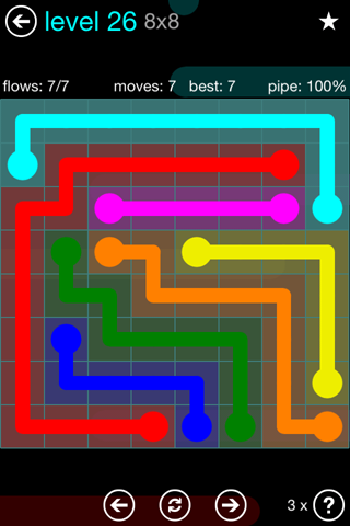Solution and Answer to the Puzzle for Flow Blue Pack Set 8x8 Level 26
