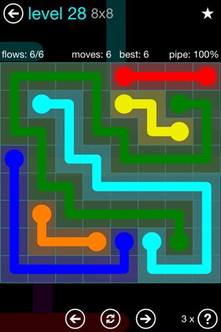 Solution and Answer to the Puzzle for Flow Blue Pack Set 8x8 Level 28