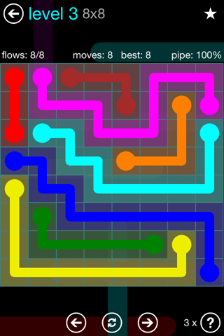 Solution and Answer to the Puzzle for Flow Blue Pack Set 8x8 Level 3