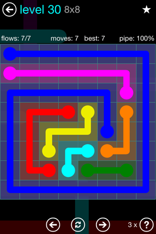 Solution and Answer to the Puzzle for Flow Blue Pack Set 8x8 Level 30
