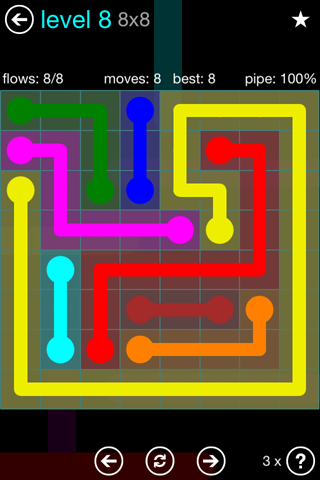 Solution and Answer to the Puzzle for Flow Blue Pack Set 8x8 Level 8