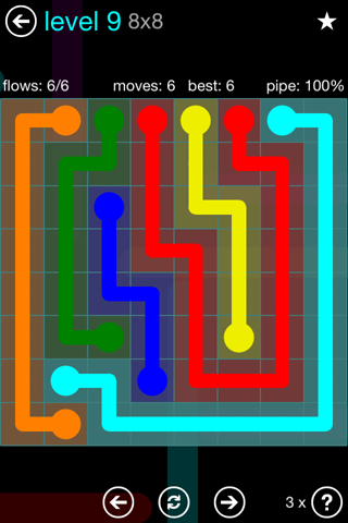Solution and Answer to the Puzzle for Flow Blue Pack Set 8x8 Level 9