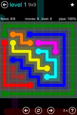 Solution and Answer to the Puzzle for Flow Blue Pack Set 9x9 Level 1