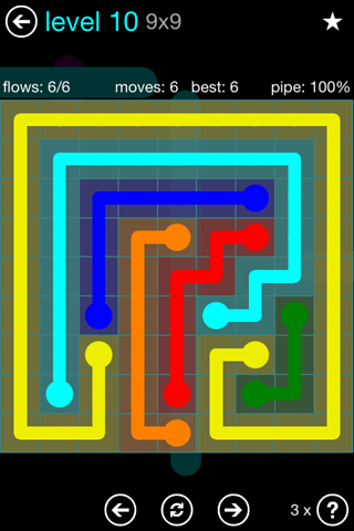 Solution and Answer to the Puzzle for Flow Blue Pack Set 9x9 Level 10