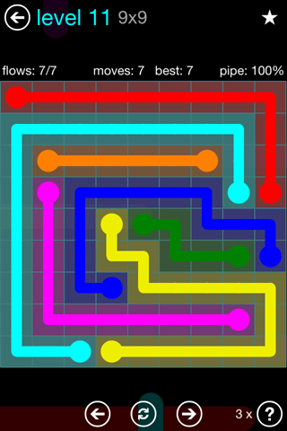 Solution and Answer to the Puzzle for Flow Blue Pack Set 9x9 Level 11