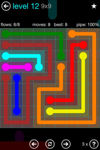 Solution and Answer to the Puzzle for Flow Blue Pack Set 9x9 Level 12