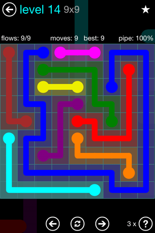 Solution and Answer to the Puzzle for Flow Blue Pack Set 9x9 Level 14