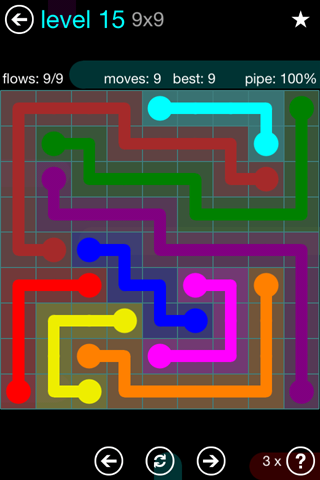 Solution and Answer to the Puzzle for Flow Blue Pack Set 9x9 Level 15