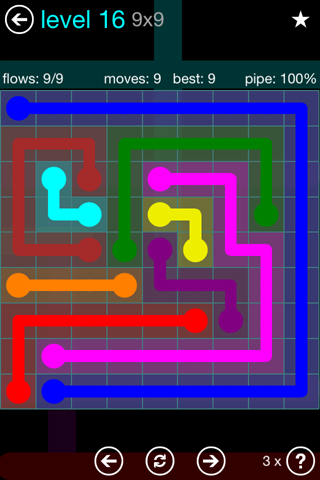 Solution and Answer to the Puzzle for Flow Blue Pack Set 9x9 Level 16