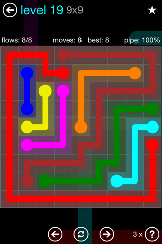 Solution and Answer to the Puzzle for Flow Blue Pack Set 9x9 Level 19