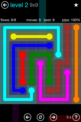 Solution and Answer to the Puzzle for Flow Blue Pack Set 9x9 Level 2