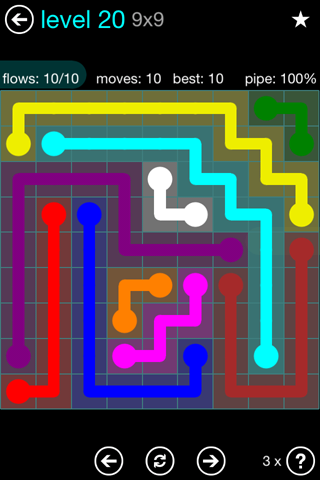 Solution and Answer to the Puzzle for Flow Blue Pack Set 9x9 Level 20