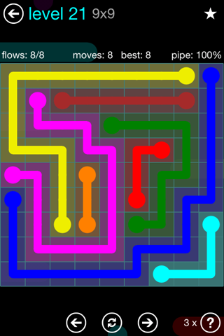 Solution and Answer to the Puzzle for Flow Blue Pack Set 9x9 Level 21