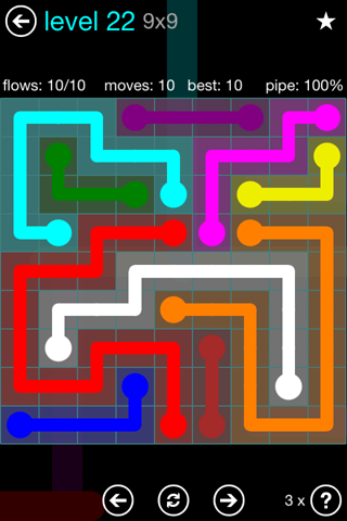 Solution and Answer to the Puzzle for Flow Blue Pack Set 9x9 Level 22