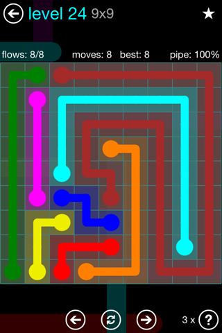Solution and Answer to the Puzzle for Flow Blue Pack Set 9x9 Level 24