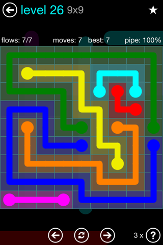 Solution and Answer to the Puzzle for Flow Blue Pack Set 9x9 Level 26
