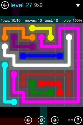 Solution and Answer to the Puzzle for Flow Blue Pack Set 9x9 Level 27