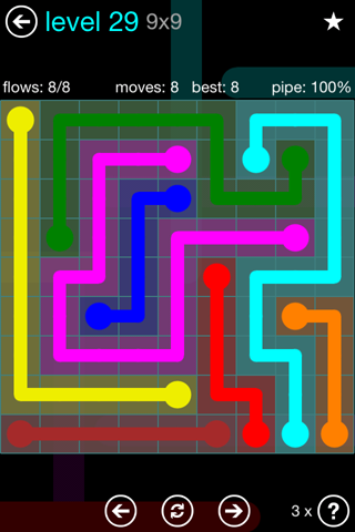 Solution and Answer to the Puzzle for Flow Blue Pack Set 9x9 Level 29