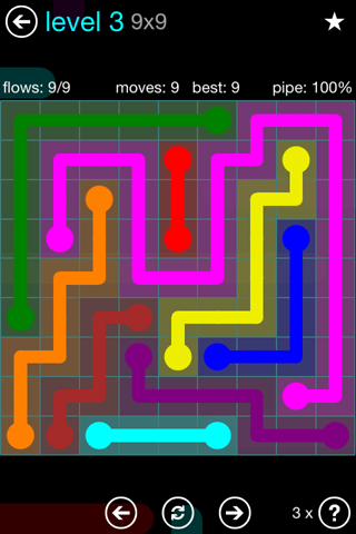 Solution and Answer to the Puzzle for Flow Blue Pack Set 9x9 Level 3