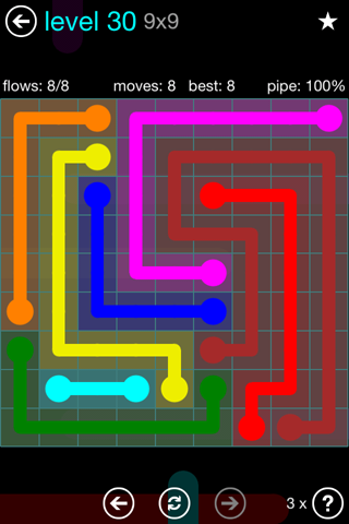 Solution and Answer to the Puzzle for Flow Blue Pack Set 9x9 Level 30