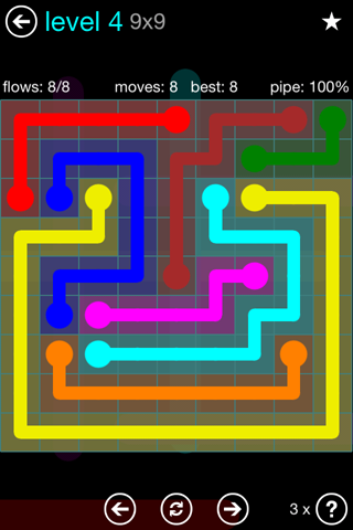 Solution and Answer to the Puzzle for Flow Blue Pack Set 9x9 Level 4
