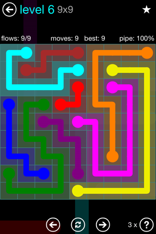 Solution and Answer to the Puzzle for Flow Blue Pack Set 9x9 Level 6