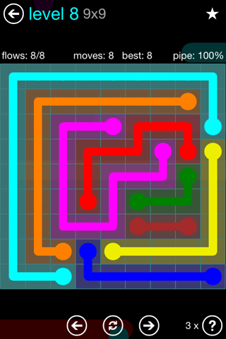Solution and Answer to the Puzzle for Flow Blue Pack Set 9x9 Level 8