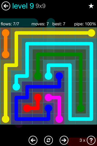Solution and Answer to the Puzzle for Flow Blue Pack Set 9x9 Level 9