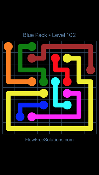 Solution and Answer to the Puzzle for Flow Free Blue Pack Level 12