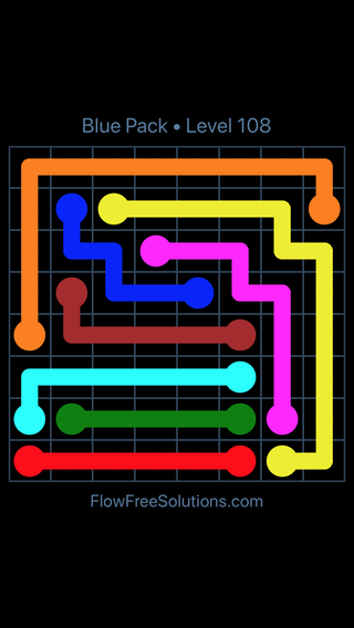 Solution and Answer to the Puzzle for Flow Free Blue Pack Level 18