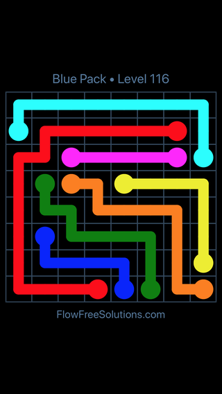 Solution and Answer to the Puzzle for Flow Free Blue Pack Level 26