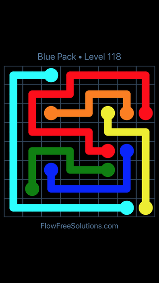 Solution and Answer to the Puzzle for Flow Free Blue Pack Level 28
