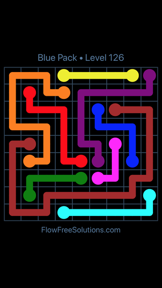Solution and Answer to the Puzzle for Flow Free Blue Pack Level 6